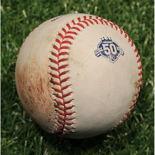 Photo of Game-Used Baseball: Heath Fillmyer Pitched Strike (MIN @ KC 9/13/18)