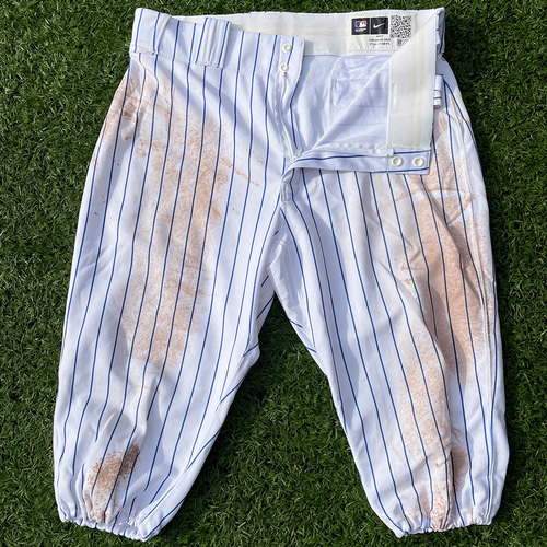 Photo of J.D. Davis #28 - Team Issued White Pinstripe Pants - 2020 Season
