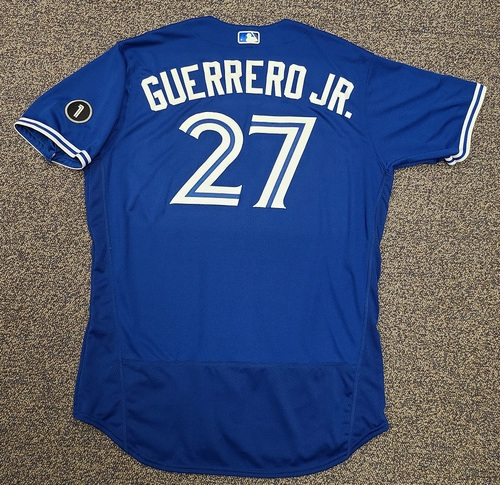Photo of Authenticated Team Issued Jersey: #27 Vladimir Guerrero Jr. (2020 Season). Set 10. Size 50.