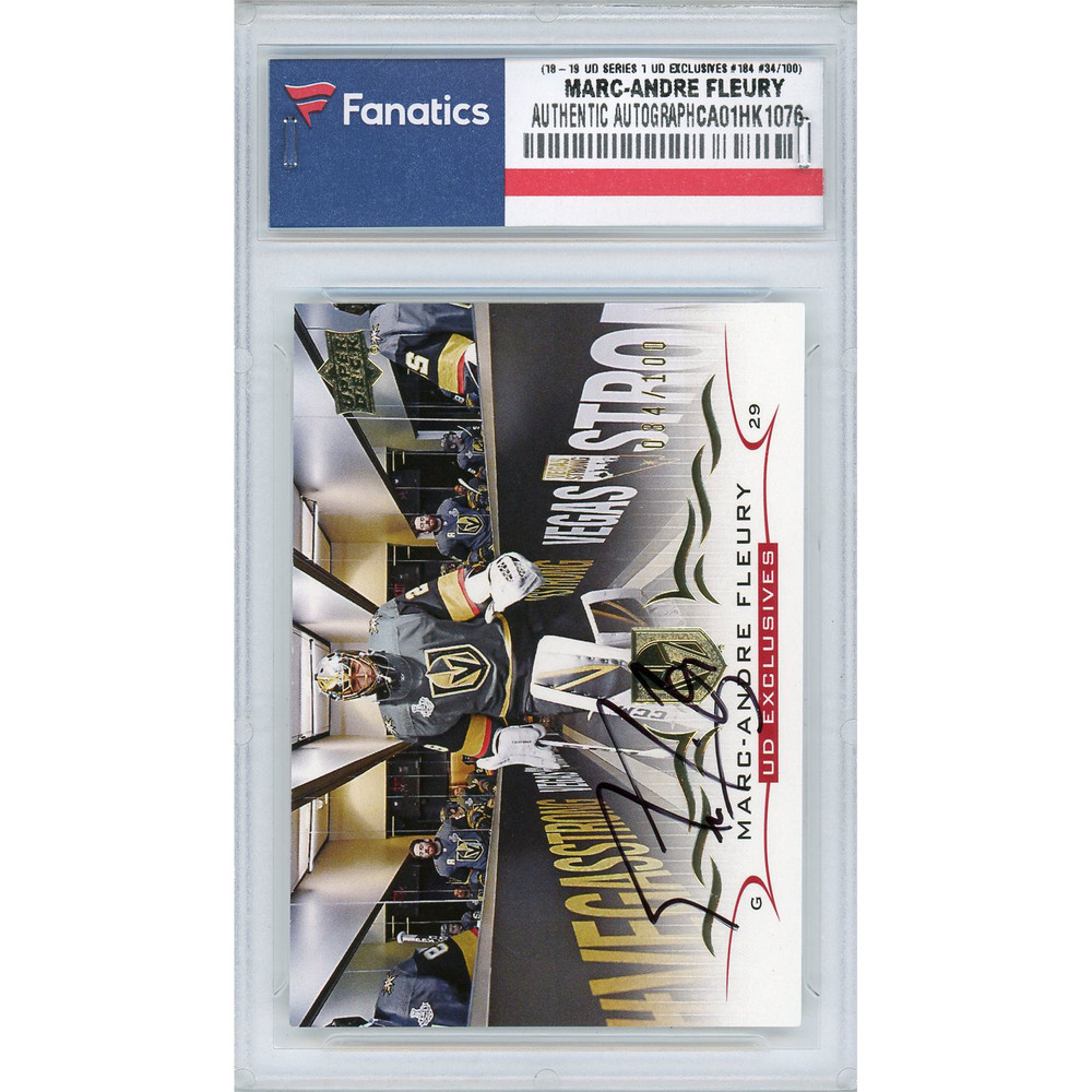 Marc-Andre Fleury Vegas Golden Knights Autographed 2018-19 Upper Deck Series One UD Exclusives #184 Card - LE#34 of 100