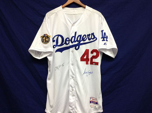 Kershaw's Challenge: Clayton Kershaw Civil Rights Game-Used Jersey Autographed By Sandy Koufax and Kershaw - EK316650