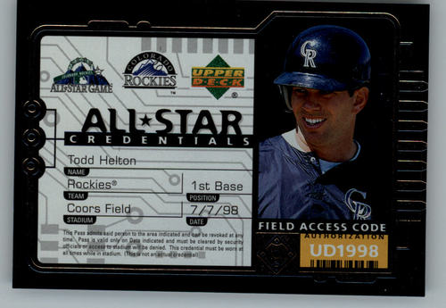 Photo of 1998 Upper Deck All-Star Credentials #AS29 Todd Helton
