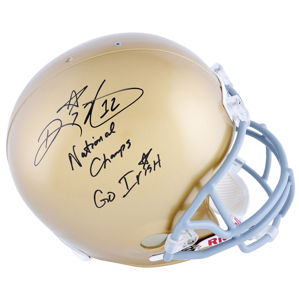 Ricky Watters Notre Dame Fighting Irish Autographed Riddell Replica Helmet with Natl Champs & Go Irish Inscriptions
