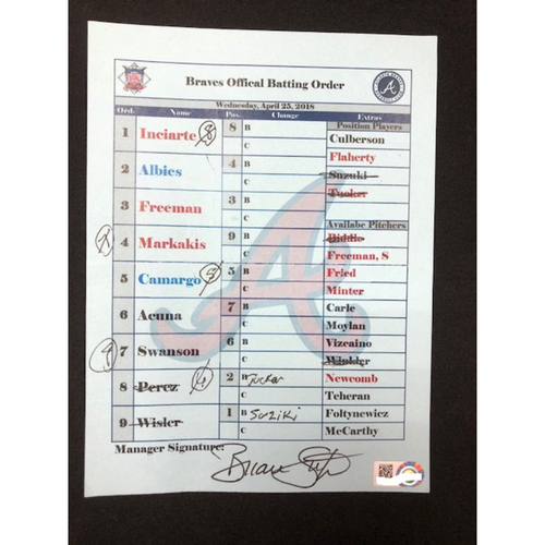 Photo of Ronald Acuna, Jr. -- Braves Official Batting Order Card from Major League Debut -- Signed by Brian Snitker -- Braves vs. Reds on April 25, 2018