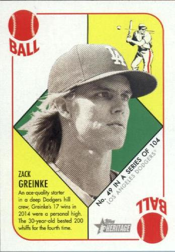 Photo of 2015 Topps Heritage '51 Collection #49 Zack Greinke