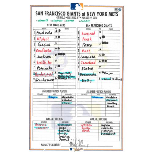 Photo of Game Used Lineup Card - Syndergaard 6 IP, 6 K's, Earns 9th Win, Sewald Earns 1st Career Save - Mets vs. Giants - 8/22/18