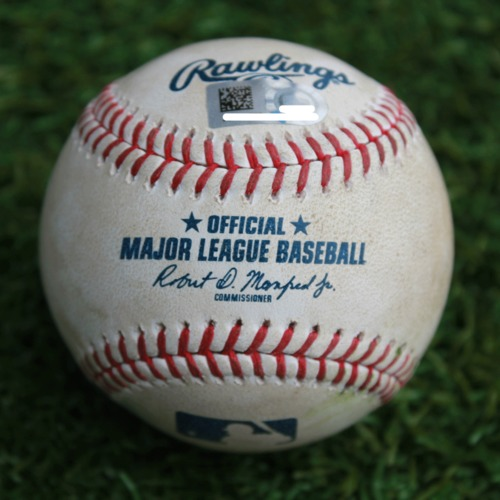 Photo of Game-Used Baseball: Kole Calhoun 143rd Career Double (LAA @ KC - 4/27/19)