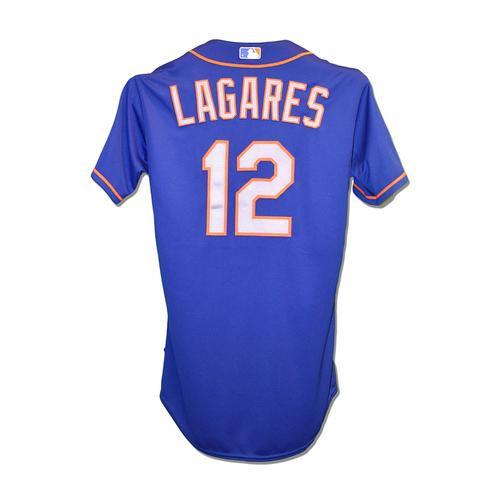 Photo of Juan Lagares #12 - Team Used Blue Alt. Road Jersey - 2015 Postseason