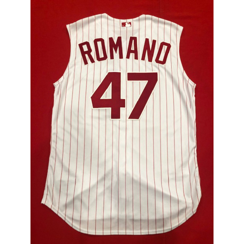 Photo of Sal Romano -- Game-Used 1995 Throwback Jersey & Pants -- D-backs vs. Reds on Sept. 8, 2019 -- Jersey Size 48 / Pants Size 37-43-34