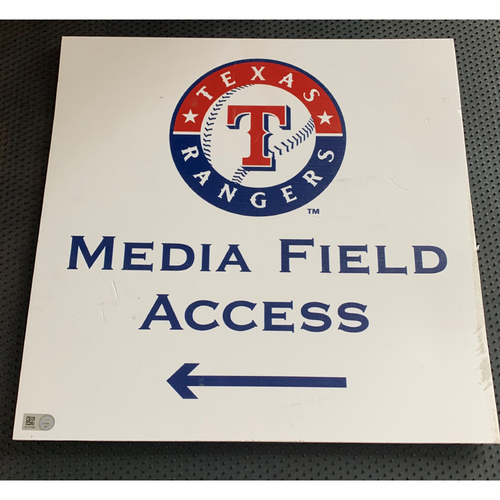 Photo of Media Field Access Sign Displayed on Clubhouse Level of Globe Life Park