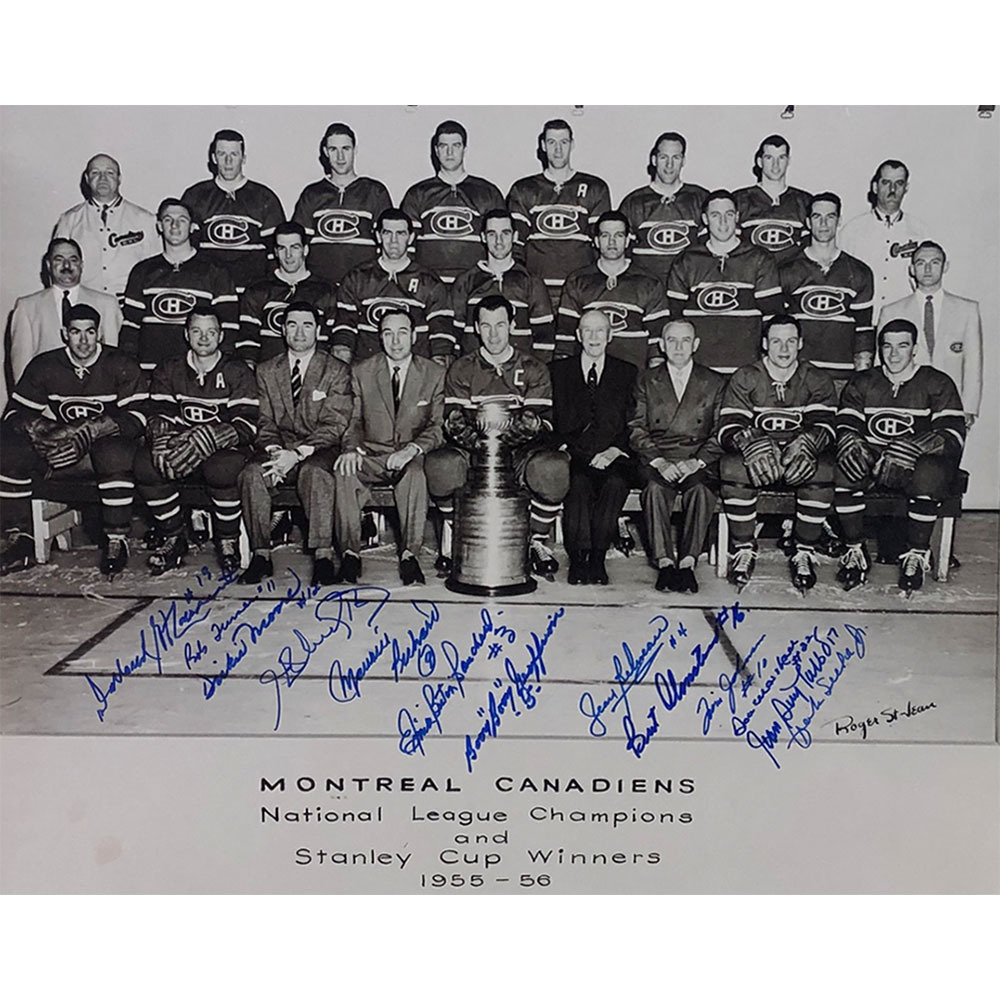 Montreal Canadiens 1955-56 Stanley Cup Champions Multi-Signed 16X20 Photo - Richard, Beliveau, Geoffrion & More