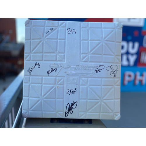 2010 NLDS Team Issued Base Autographed by Eight (8) Phillies All-Stars-Halladay, Howard, Ibanez, Polanco, Rollins, Ruiz, Utley, Victorino