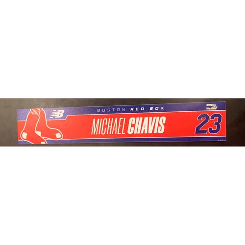 Photo of Michael Chavis May 16, 2021 Game Used Locker Tag