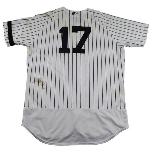 Photo of Matt Holliday New York Yankees Game-Used #17 Pinstripe Jersey (10/1/2017). Jersey Size - 46