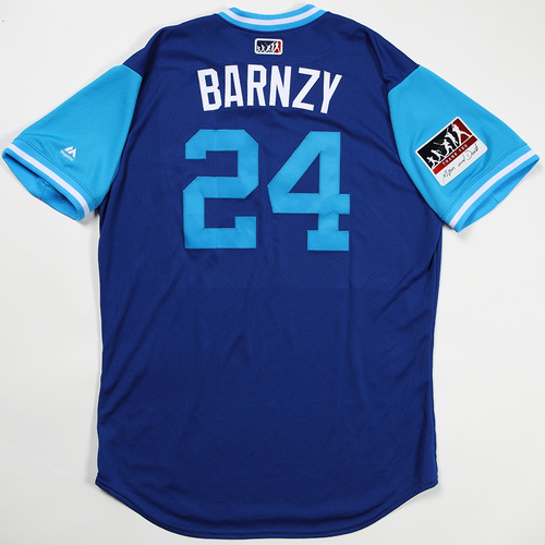 "Photo of Danny ""Barnzy"" Barnes Toronto Blue Jays Team Issued Jersey 2018 Players' Weekend Jersey"