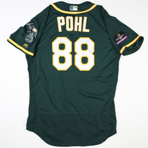 Photo of 2019 Japan Opening Day Series - Game Used Jersey - Philip Pohl, Oakland Athletics at Nippon Ham Fighters -3/17/2019