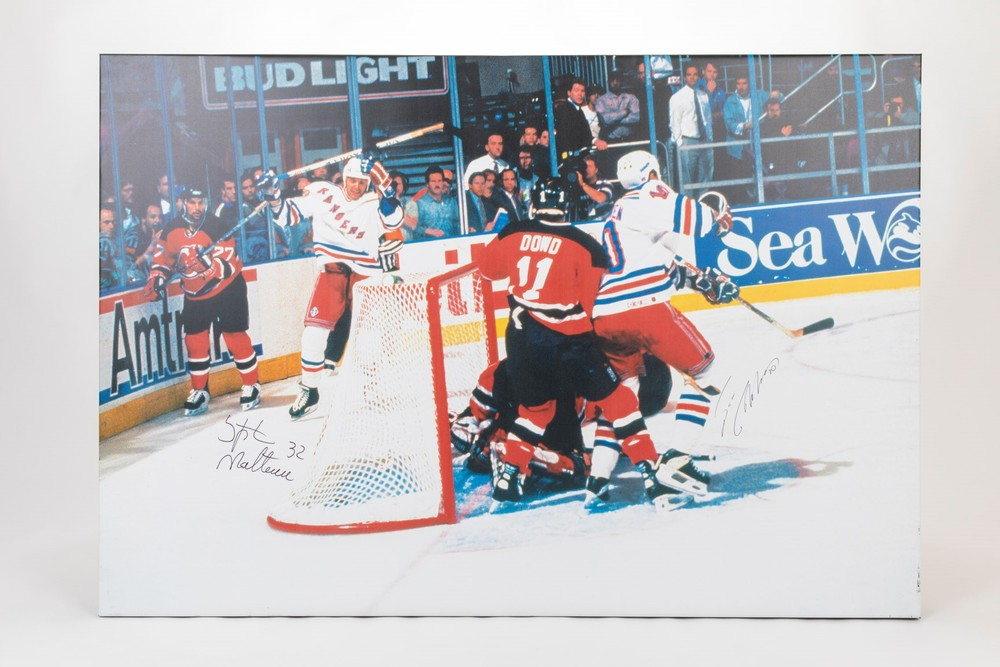 Autographed 1994 Eastern Conference Finals Double Overtime Goal Canvas by Stephane Matteau & Esa Tikkanen