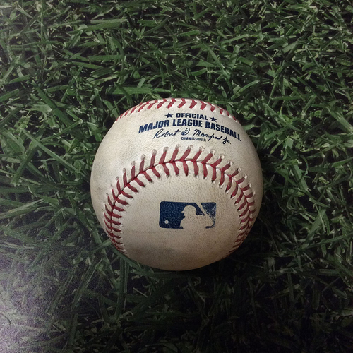 Photo of Game-Used Baseball MIL@PHI 05/14/19 - Jerad Eickhoff - Keston Hiura: Ball 4, Walk (MLB Debut Game - 1st Career Walk)