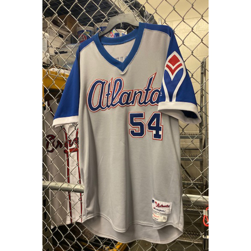 Photo of Max Fried Team-Issued 1974 Atlanta Braves Throwback Grey Jersey (Jersey is NOT MLB Authenticated) - Size 46