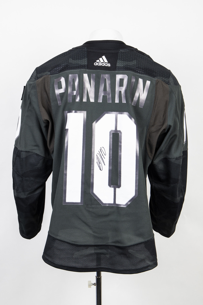 Veterans Night warm up jersey worn and signed by #10 Artemi Panarin