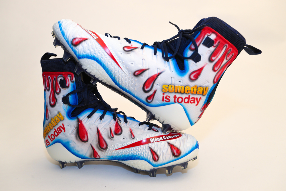 My Cause My Cleats -  Patriots Marcus Cannon signed custom cleats - supporting  Leukemia and Lymphoma Society INC