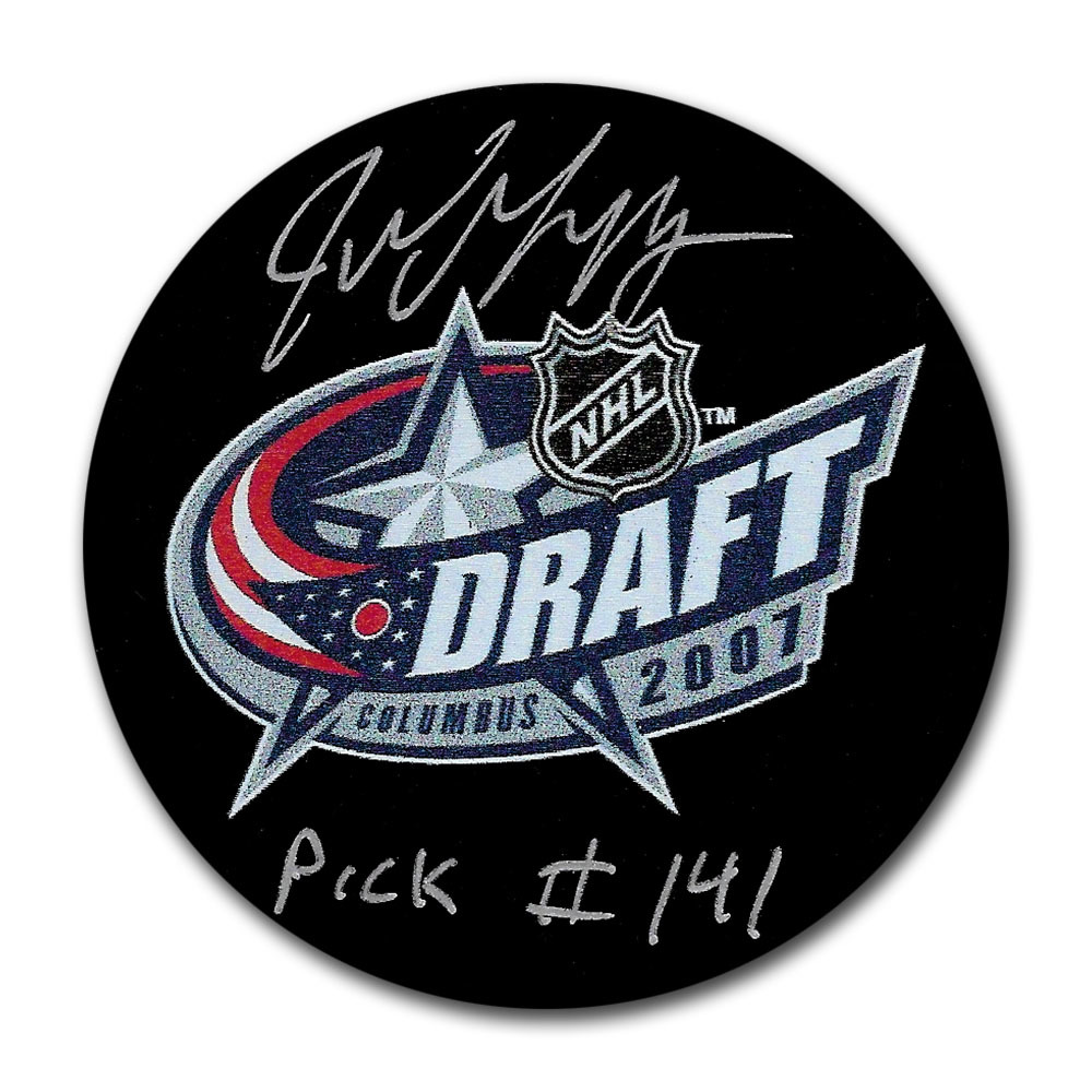 Jake Muzzin Autographed 2007 NHL Entry Draft Puck w/PICK #141 Inscription
