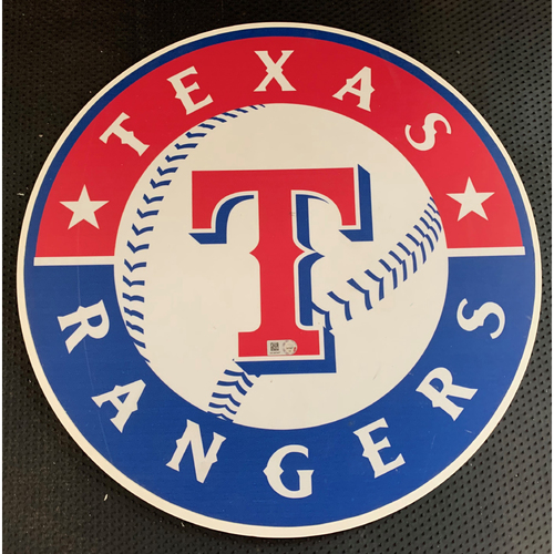 Photo of Texas Rangers Primary Logo Sign Displayed in Tunnel Leading From Home Clubhouse to Home Dugout at Globe Life Park