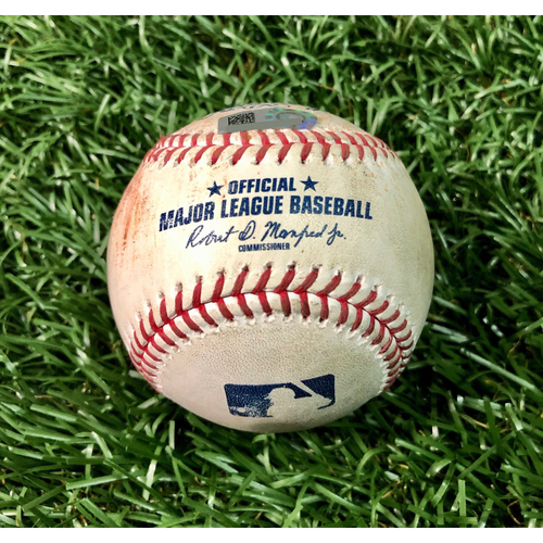 Photo of Game Used Baseball: Aaron Hicks single off Ryan Thompson - Ryan Thompson Rookie Season - First Seven Inning DH at Tropicana Field - Game 2 - August 8, 2020 v NYY