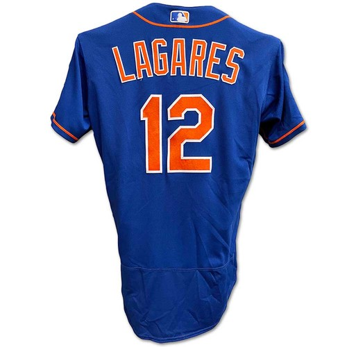 Photo of Juan Lagares #12 - Team Issued Blue Alt. Home Jersey - 2019 Spring Training