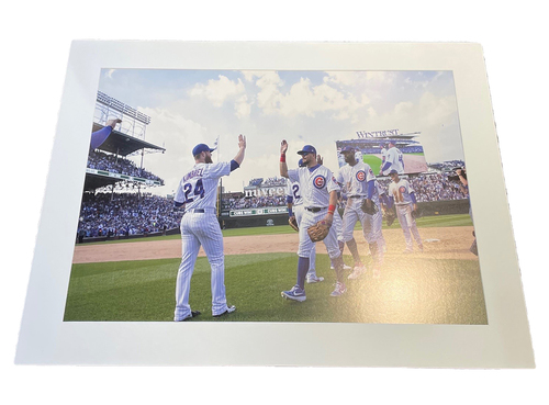 Photo of Clubhouse Photo -- Cubs Win High Five Line -- Size 30 X 40 in.