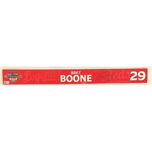 Photo of Bret Boone - Game-used and Autographed Locker Name Plate: 2021 Cincinnati Reds Hall of Fame Legends Game