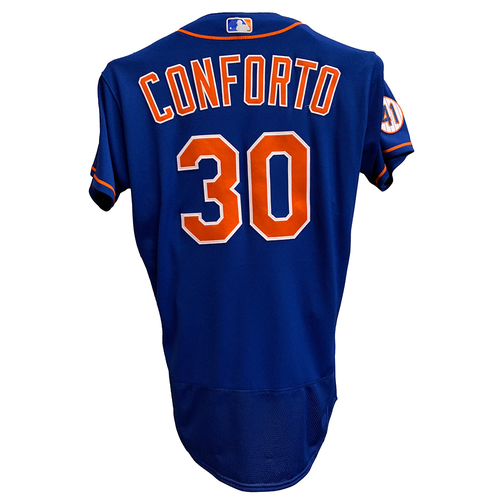 Photo of Michael Conforto #30 - Game Used Blue Alt. Home Jersey - Mets vs. Marlins - 9/28/21 Game 2 - Also Worn on 8/31/21, Goes 1-1, HR (10), 2 RBI, Run Scored - Mets vs. Marlins