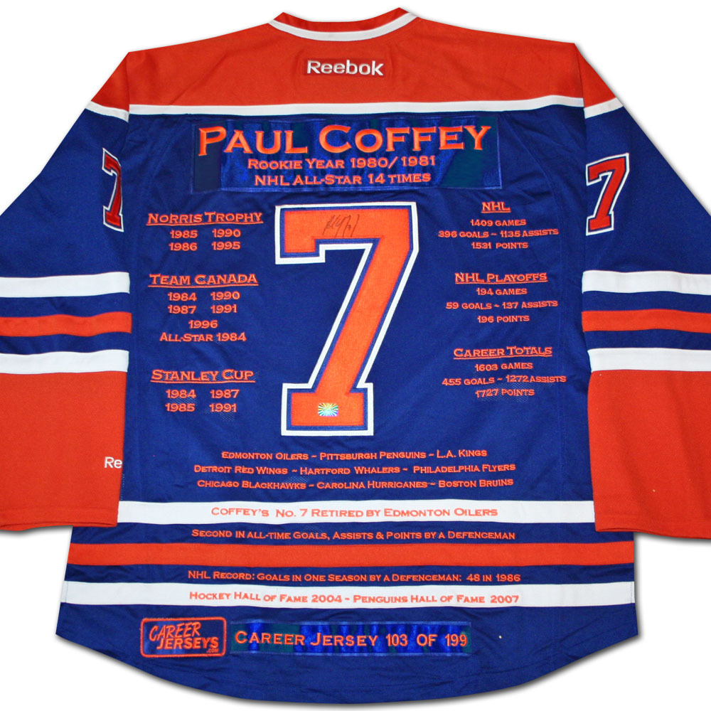 Paul Coffey Autographed Career Stats Limited-Edition Edmonton Oilers Jersey - #102/199