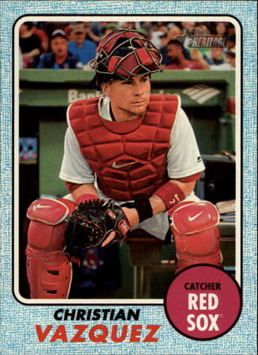 Photo of 2017 Topps Heritage Blue #695 Christian Vazquez