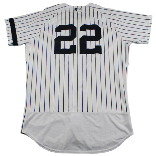 Photo of Jacoby Ellsbury New York Yankees Game-Used #22 Pinstripe Jersey (10/1/2017). Jersey Size - 44