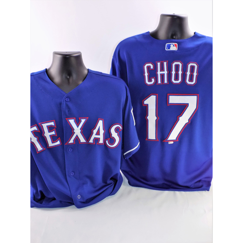 Photo of Shin-Soo Choo Game-Used Blue Jersey - Worn While Hitting Home Runs #2 And #3 Of 2018 - Size 46
