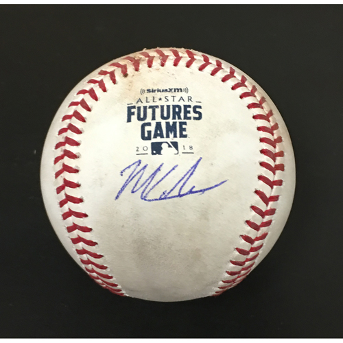 Photo of 2018 MLB Futures Game - Mitch Keller (Team USA Starting Pitcher) Game-Used Autographed Baseball:  Batter: Luis Basabe (Strikeout), Batter: Fernando Tatis Jr. (Fly Out), Batter: Yusneil Diaz (Pitch in Dirt)