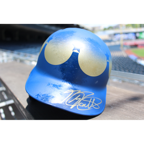 Photo of Game-Used and Autographed Batting Helmet: Mike Moustakas 135th Career Home Run (Size 7 1/2 - Innings 1, 3, 5 - KC at SEA - 6/30/18)