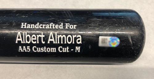 Photo of Albert Almora Game-Used Cracked Bat -- Dakota Hudson to Albert Almora, RBI Single, Bot 6 -- Cardinals vs. Cubs -- 9/30/18