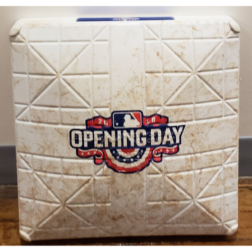 Photo of 2016 Opening Day Game-Used Base - Los Angeles Dodgers at San Diego Padres - 3rd Base Used In Innings 4-9 - 4/4/16