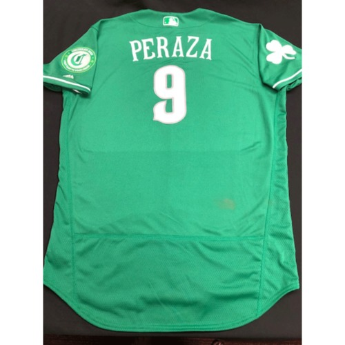 Photo of Jose Peraza -- Game-Used Jersey -- 2019 St. Patrick's Day