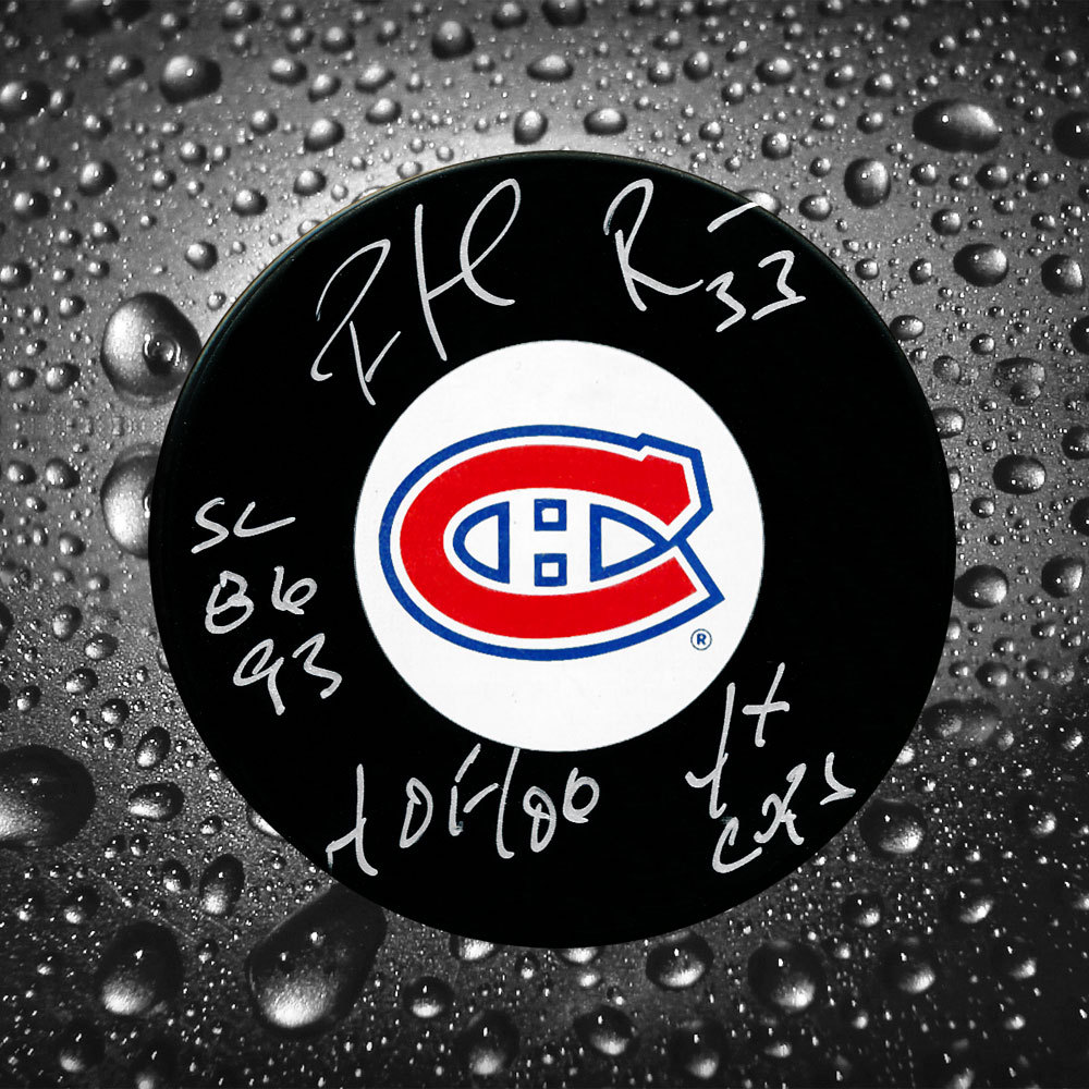 Patrick Roy Montreal Canadiens HOF Stanley Cups Autographed Puck WOW