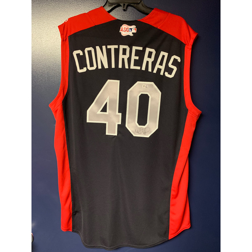 Photo of Wilson Contreras 2019 Major League Baseball Workout Day Autographed Jersey