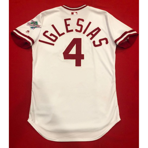 Jose Iglesias -- Game-Used 1990 Throwback Jersey (Starting SS: Went 2-for-4, 2B, 2 R) -- Cardinals vs. Reds on Aug. 18, 2019 -- Jersey Size 42