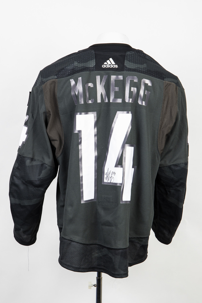 Veterans Night warm up jersey worn and signed by #14 Greg McKegg
