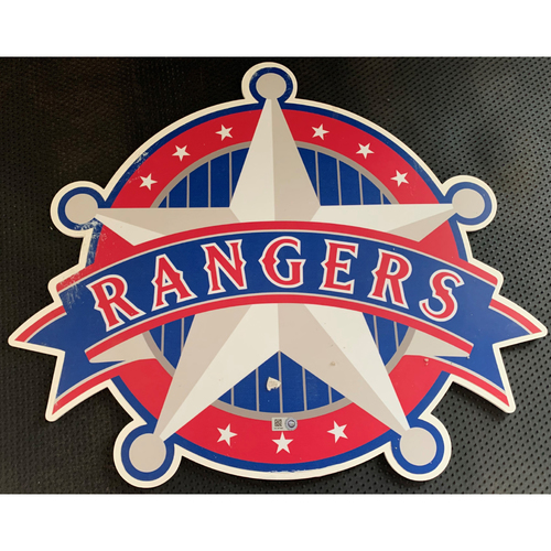 Photo of Texas Rangers Vintage Star Logo Sign Displayed in Tunnel Leading From Home Clubhouse to Home Dugout at Globe Life Park