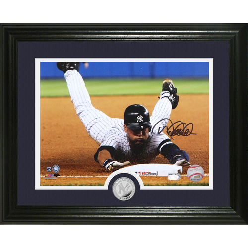 "Photo of Derek Jeter Autographed ""Slide"" Silver Coin Photo Mint"