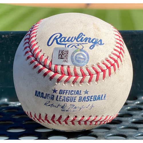 Photo of Colorado Rockies Game-Used Baseball- Pitcher: Taylor Clarke, Batter: Elias Diaz (Single to Kole Calhoun); Pitcher: Taylor Clarke, Batter: Garrett Hampson (Single to David Peralta) - August 12 vs. Arizona Diamondbacks.