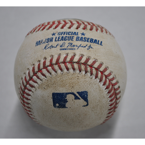 Photo of Game-Used Baseball - CLE vs. PIT - 8/19/2020 - Pitcher - Aaron Civale (CLE), Batter - Cole Tucker, Bot 9, Double