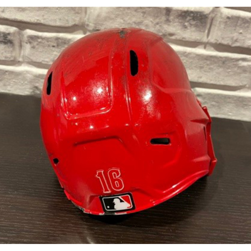 Photo of Tucker Barnhart -- Game-Issued Helmet -- Right Ear Flap -- Size 7 1/8